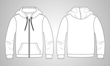 Long Sleeve Hoodie With Zipper Technical Fashion Drawing Sketch Template Front And Back View. Apparel Dress Design Vector Illustration Mock Up Jacket CAD. Easy Edit And Customizable.
