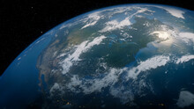 Earth In Space. Photorealistic 3D Render Of The Globe, With Views Of USA And North America. Global Concept.