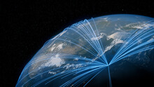 Earth In Space. Blue Lines Connect Tokyo, Japan With Cities Across The World. Worldwide Travel Or Communication Concept.