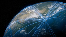 Earth In Space. Blue Lines Connect Hangzhou, China With Cities Across The World. Global Travel Or Communication Concept.
