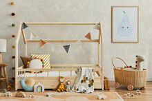 Stylish Composition Of Cozy Scandinavian Child's Room Interior With Wooden Bed, Plush And Wooden Toys, Rattan Basket And Textile Hanging Decorations. Creative Wall, Carpet On The Floor. Template.