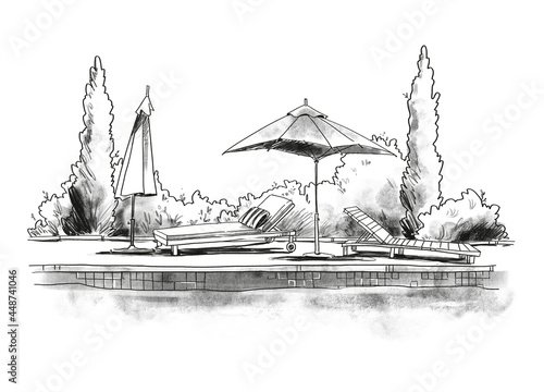 Murais de parede By the pool. Black and white quirky sketch of sunbeds by the pool