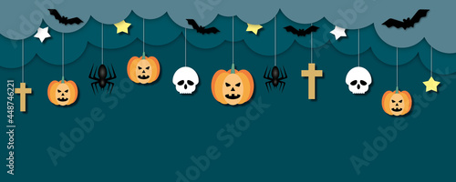 Obraz na plátně Happy halloween on darkness background, Halloween holiday party concept, paper cut design style