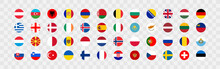 European Country Flag In A Circle On A Transparent Background. 48 National Flags. Vector Set Icons