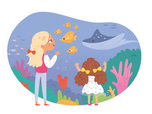 Children In Sealife Museum. Kids Looking At Aquarium With Fish, Water, Corals, Animals Vector Illustration. School Excursion Scene, Girls On Trip. Science And Nature Education