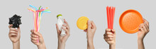 Collage With Photos Of Women Holding Different Plastic Things On Grey Background, Closeup. Banner Design