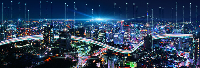 Smart connection network system, smart city network concept, 5G wireless connection.