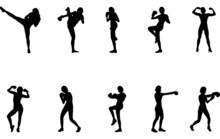 Woman Boxing Silhouette Vector