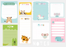 Set Of Kids Weekly Or Daily Planner, Note Paper, To Do List, Stickers Templates With Cute Animals. Vector Illustration.