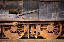Old Train On Railroad Track