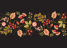 Seamless Pattern With Stylized Ornamental Flowers In Retro, Vintage Style. Jacobin Embroidery. Colored Vector Illustration Isolated On Black Background.