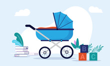 Blue Baby Carriage Vector Illustration - Pram Standing In Room With Toys And Books. Preparing For Baby Boy Concept.