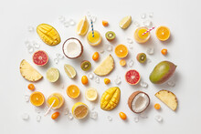 Fresh Natural Summer Fruits And Juice