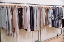 Linen And Cashmere Clothing On Rack