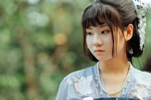 Asian Teenage Girl Wearing Traditional Chinese Hanfu Costume
