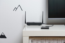 Wi-Fi Router In The Interior Of The House