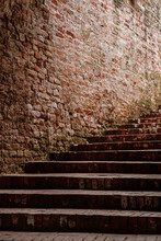 Old Brick Stair And Wall