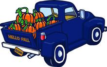Blue Vintage Pumpkin Truck   Hello Fall