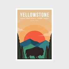 Yellowstone National Park Modern Poster Vector Illustration