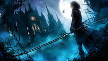A Beautiful Vampire Hunter Girl In A Leather Suit With A Long Magic Saber Stands At The Entrance To A Huge Gothic Sabor, It's Night And Fog Outside, A Bright Full Moon Illuminates The Estate. 2d Art