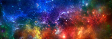 Abstract Space Background With Colorful Nebula And Stars