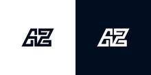 Minimal Creative Initial Letters AZ Logo.