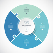 Vector Infographic Puzzle Circular Template. Cycle Diagram With 4 Parts, Options. Can Be Used For Chart, Graph, Report, Presentation, Web Design.