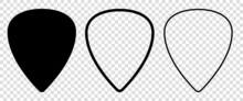 Set Of Blank Solid And Line Guitar Picks. Vector Icon Isolated On Transparent Background