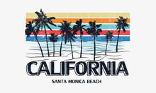 Palm Beach With Ocean Wave T Shirt Design. California Santa Monica  Beach Apparel Artwork.