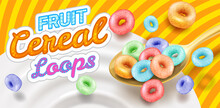 Fast Breakfast - Round Colored Cereals Flakes Falling Into Milk From Spoon, Product Packaging Mockup Cover, Vector Illustration.