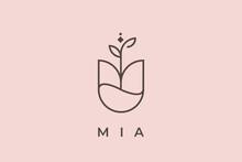 Logo Name Mia, Usable Logo Design For Private Logo, Business Name Card Web Icon, Social Media Icon