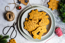 Plate Of Assorted Christmas Gingerbread Cookie Decorations