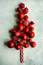 Conceptual Christmas Tree Made From Red Christmas Baubles And Candy Canes