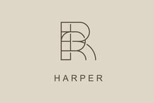 Logo Name Harper, Usable Logo Design For Private Logo, Business Name Card Web Icon, Social Media Icon