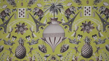 Pattern With Flowers, Eiffel Tower And Birds On Fabric
