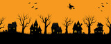 Halloween houses. Spooky village. Seamless border. Black silhouettes of houses and trees on an orange background. There are also bats, pumpkins and a witch on a broomstick in the picture. Vector