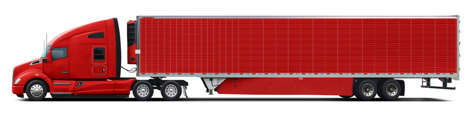 A large modern American truck in all red color. Side view isolated on white background.