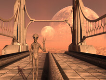 Illustration Of A Grey Alien Gesturing With Fingers Apart And Smiling On A Bridge To Nowhere On An Extraterrestrial World.