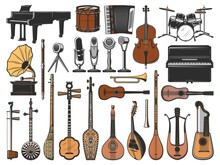 Vintage Music Instruments, Retro Microphones And Gramophone. Isolated Vector Icons Of Piano, Drums, Cello And Guitar, Horn, Mandolin, Tanbur, Shamisen And Erhu, Saz, Tar, Lyre And Harp Guitars