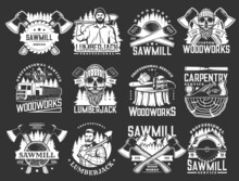 Lumberjack, Woodworks, Carpentry And Sawmill Vector Icons With Logger Or Woodcutter Men, Axes And Forest Trees. Lumberjack Skull With Beard, Wood Cut, Log And Hatchet, Saw, Logging Truck And Plane