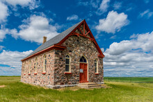 The Historic Stone Fairview United Church, Built In 1903, And Surrounding Countryside, Outside Regina, SK