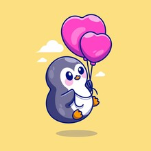 Cute Penguin Flying With Balloons Cartoon