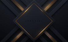 Abstract Black Background With Golden Glowing Stripes.