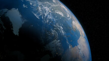 Earth In Space. Photorealistic 3D Render Of The Planet, With Views Of Norway And Europe. Global Concept.