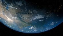 Earth In Space. Photorealistic 3D Render Of The World, With Views Of China And Asia. Global Concept.