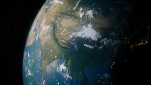 Earth In Space. Photorealistic 3D Render Of The Planet, With Views Of China And Asia. Environment Concept.