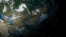 Earth In Space. Photorealistic 3D Render Of The World, With Views Of China And Asia. Environment Concept.