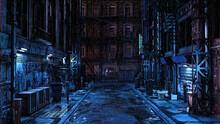 3D Illustration Of A Dark Seedy Futuristic Urban Back Street Alley At Night In The Rain. Cyberpunk Concept.