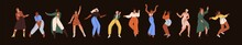 Set Of Diverse Happy Women Dancing From Fun And Joy. Smiling Young People Moving To Music At Disco Party. Collection Of Modern Stylish Female Dancers In Motion. Isolated Flat Vector Illustrations