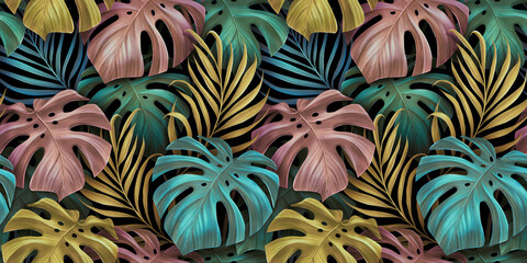 Tropical exotic seamless pattern. Pastel colorful monstera leaves, palm leaves. Hand-drawn vintage 3D illustration. Glamorous background design. For luxury wallpapers, cloth, fabric printing, goods